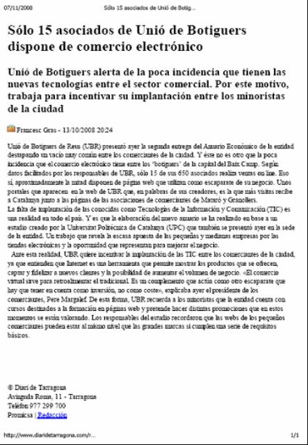 """""""Diari de Tarragona"""". Presentació TecnoPYME.cat a Reus. (13/10/2008)"""