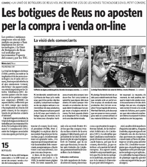 """""""Diari Aquí (Reus)"""". Presentació TecnoPYME.cat a Reus. (14/10/2008)"""