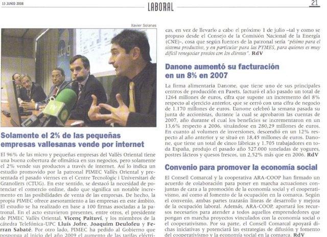 """""""Revista Vallès"""". Presentació TecnoPYME.cat a Granollers (06/06/2008)"""