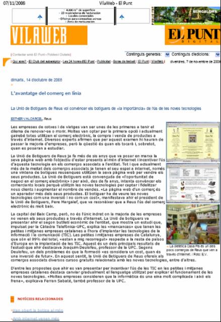 """""""Diari el Punt"""". Presentación TecnoPYME.cat en Reus. (14/10/2008)"""