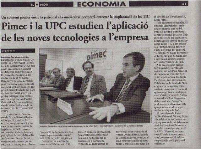 """""""El 9 nou"""" Conveni PIMEC-UPC (01/02/2008)"""