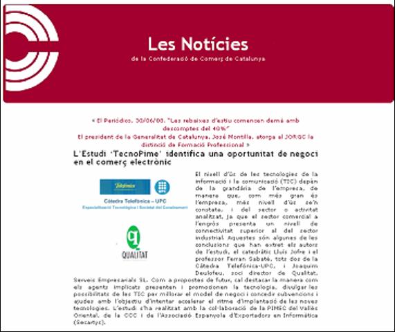"""""""Publicaciones institucionales: Boletín electrónico de la asociación empresarial 'Confederació Comerç Catalunya'"""". Presentación TecnoPYME.cat en Barcelona. (06/06/2008)"""