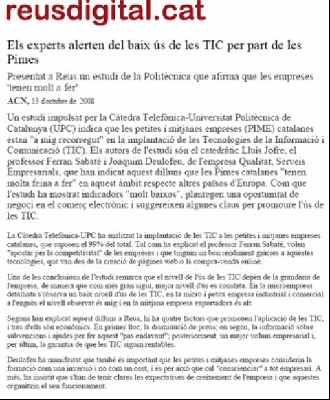 """""""Reus Digital"""". Presentación TecnoPYME.cat en Reus.(13/10/2008)"""
