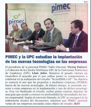 """Revista Vallès"". Convenio PIMEC y Cátedra Telefónica-UPC(01/02/2008)"